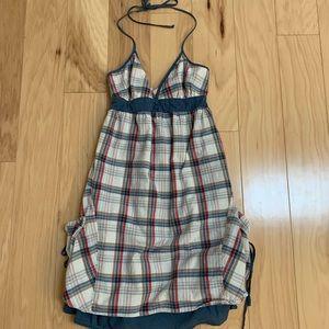 Billabong Blue Check Halter pockets Dress
